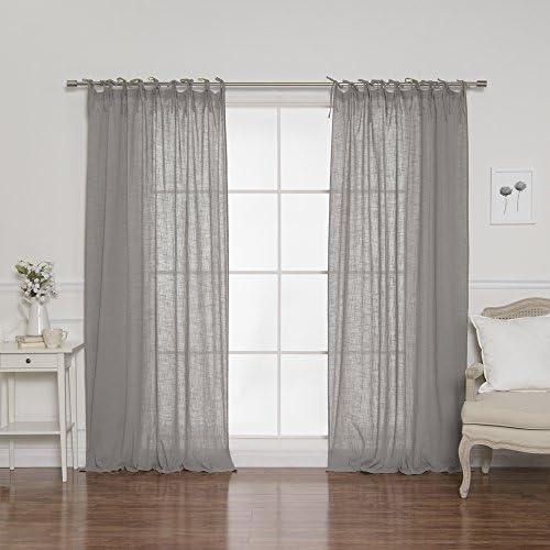 Best Home Fashion Cotton Gauze Curtains – Tie Top – Grey – 52 W x 84 L Set of 2 Panels