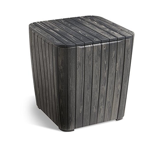 Keter Luzon Patio Side Coffee Table Outdoor Furniture Durable Resin Plastic Realistic Wood Look, Graphite