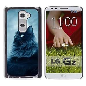 PC/Aluminum Funda Carcasa protectora para LG G2 D800 D802 D802TA D803 VS980 LS980 Cat Furry Long Hair Grey Blue Eyes Feline / JUSTGO PHONE PROTECTOR