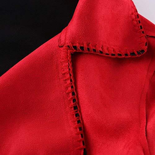 Avant Revers Tous Femme Mode Coat Manches Hiver Rouge lgant Longues Mode Jours De Bouton Poches Uni Jeune Les Automne Bande Costume Manche Manteau Mtal Trench Outerwear 1POww