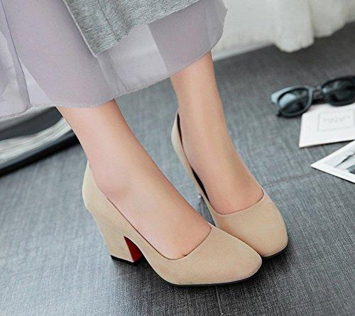 Arbeit Pumps Top Elegant Business Aisun Heels High Für Khaki Blockabsatz Low Damen w8Wqv