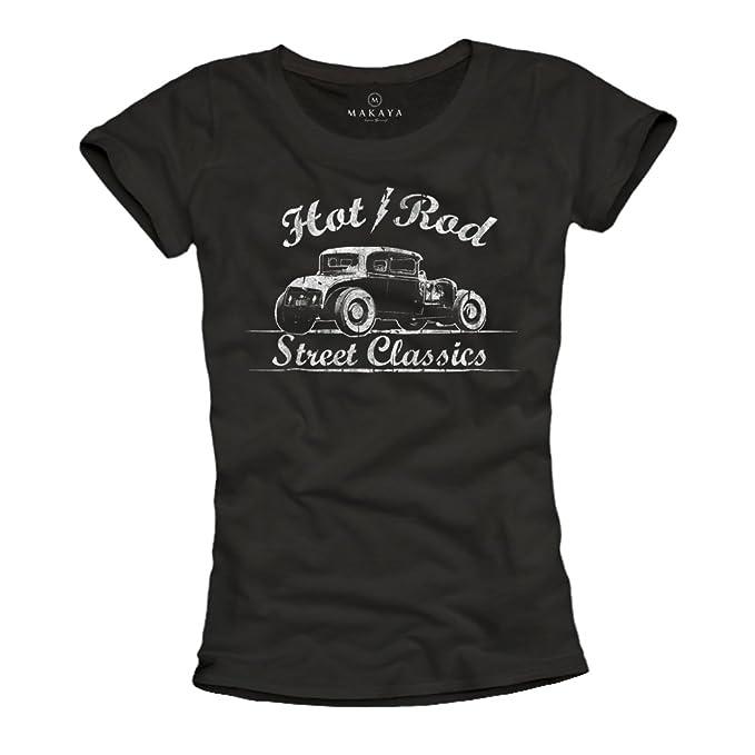 MAKAYA Ropa rockera mujer - Camiseta negra estampada Hot Rod: Amazon.es: Ropa y accesorios