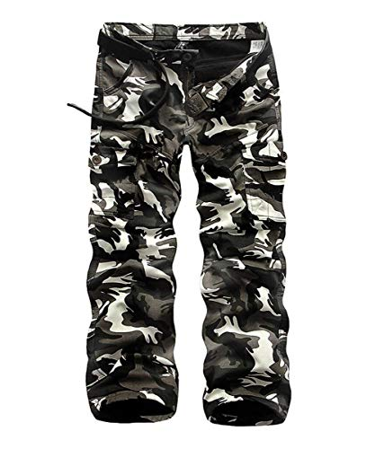 Lavoro Con Wwrinkle Elegant Army Cargo Tcl Casual Pocket Haidean tk Mimetici Da Moderna Pants Nero Pantaloni Uomo ngwIBq