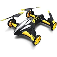 Mini Butterball Air-Ground Dual Mode Flying Car RC Drone with Wheel 2.4G 4CH 6-Axis Gyro RTF Quadcopter with 3D Flip One-key Return Headless Mode Led Lights Super Cool Gift Yellow