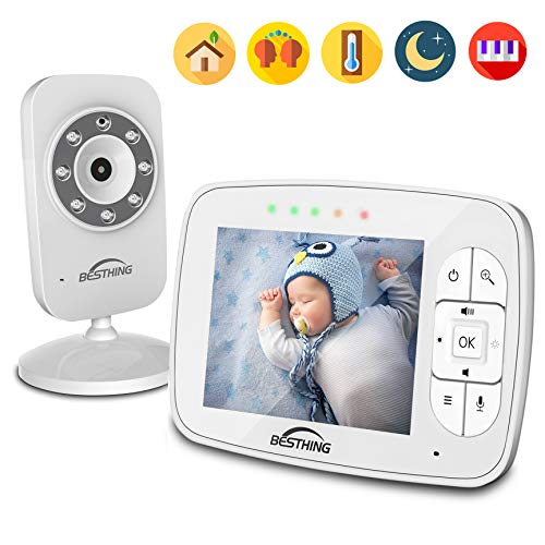 Digital Video Baby Monitor with 3.5 Inch Color Screen, Infrared Night Vision, Soothing Lullabies, Two Way Audio and Temperature Monitoring by BESTHING
