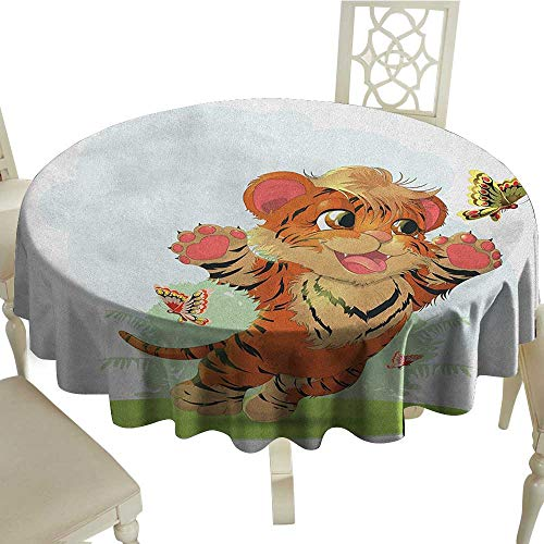 (longbuyer Cartoon Washable Tablecloth Cub Playing with Butterflies in The Meadow Joyful Lively Baby Tiger Cat Diameter 36