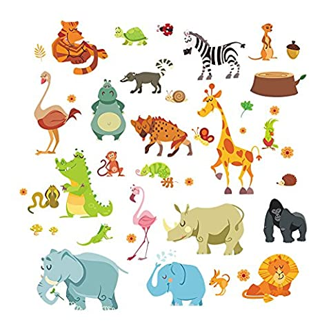Winhappyhome Elephant Squirrel Animals Wall Art Stickers