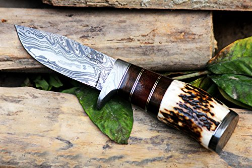 Black Mamba Knives BMK-101 Eagle 8.5 Long 4 Blade 7 Ounce Blade Damascus Hunting Fixed Blade Knife With Antler Hand Made Damascus Word Class Knives