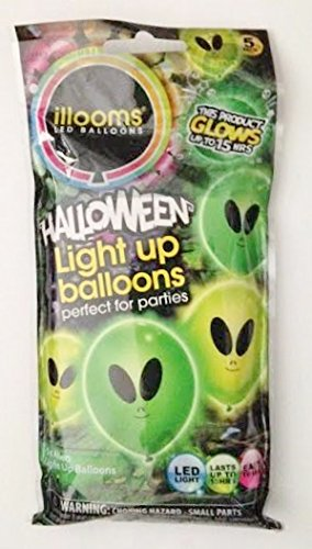 "Halloween LED Light Up 9"" Balloons - Green Aliens (Pack of 5 Balloons)"