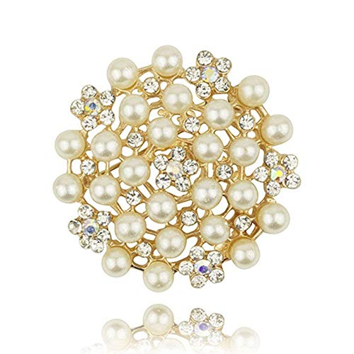 (Reizteko Fashion Jewelry Imitation Pearls Floral Ivory and Silver-Tone Crystal Brooch Pin (Gold-Plated #2))