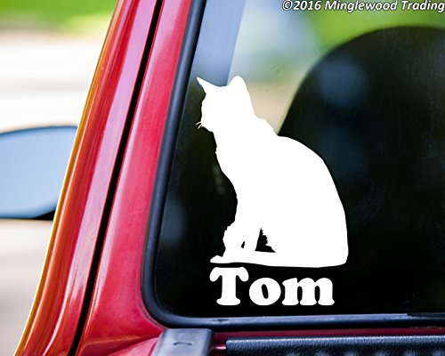 (Minglewood Trading Short-Haired Cat Sitting vinyl decal sticker with Personalized Name 6
