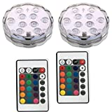 Remote Controlled Battery Operated Wireless Multicolor Waterproof Underwater Submersible Led Lights for Aquarium Vase Pond Party Wedding Christmas Halloween Holiday Home Lighting,Set of 2