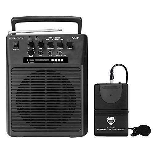 Nady WA-120BT LT Wireless Portable compact P.A full-range speaker system with built-in amplifier, BLUETOOTH, mp3 player, mixer, lavalier wireless microphone by Nady