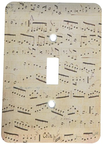 3dRose LLC lsp_120273_1 Grunge Musical Notes Vintage Sheet Music Yellowed Piano Notation Pianist and Musician Gifts Single Toggle Switch