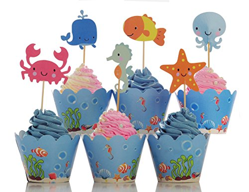 BeBeFun Adjustable Cupcake Wrappers and Toppers Ocean Party Under the Sea and Marin Animals Theme Kids Birthday Party Supplies and Special Events Supplies 24pcs Wrappers and 24pcs Toppers in Pack. -