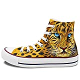 Wen Design Animal Hand Painted Shoes Leopard Unisex High Top Canvas Sneakers