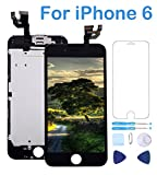 "Screen Replacement Compatible for iPhone 6 Black 4.7"" Inch LCD Display Touch Digitizer Frame Full Assembly Repair Kit,with Proximity Sensor,Ear Speaker,Front Camera,Screen Protector,Repair Tools"