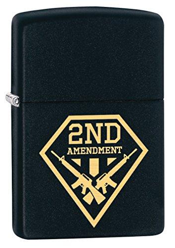 Zippo Mint Lighter - Zippo Lighter: Second Amendment Gun Shield - Black Matte 79551