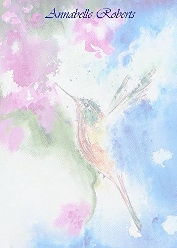 Abstract Hummingbird Complete Flat Note Card Set With Envelopes, Women's Monogrammed Stationery, Girl's Custom Monogram ()