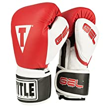 TITLE Boxing  TITLE Gel Intense Bag/Sparring Gloves, Red/White, 16-Ounce