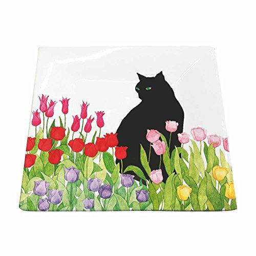 Paperproducts Design 28210 Small Featuring Black Cat Tulips Square Plate, Multicolor