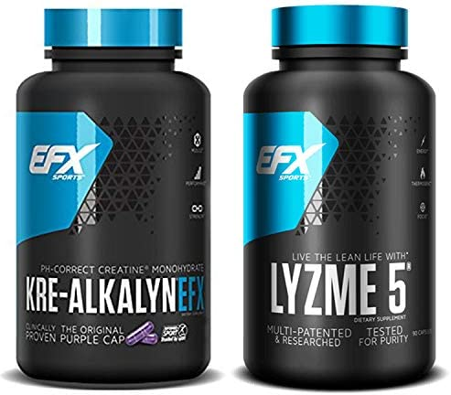 EFX Kre-Alkalyn 240 Capsules Bundled with Lyzme 5 90 Capsules Jaw-Dropping Diet, Weight Loss Lean Muscle Supplement Stack Fat Burner with Creatine Monohydrate Performance Enhancing Pills