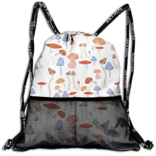 (Polyester Drawstring Sack Theft Proof Water Resistant Large Tote Cinch Sack Large Capacity For Basketball, Baseball, Sports & Workout Gear (Mushroom Plants)