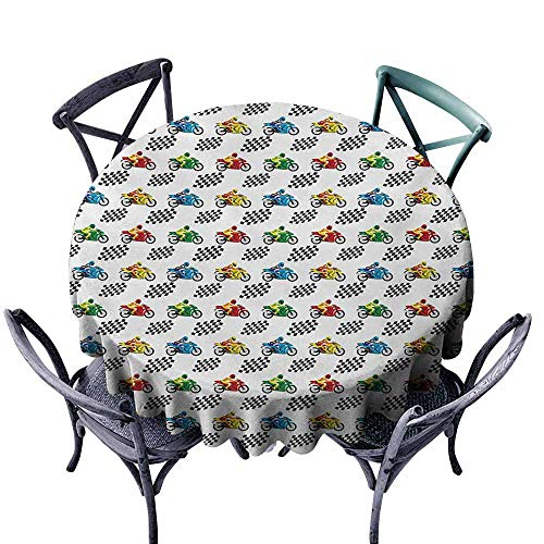 Ficldxc Round Tablecloth Motorcycle Sports Bike with Racing Riders Among Black and White Chequered Flags Competition Multicolor Easy to Clean D43 -