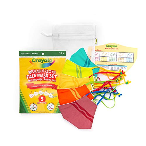 🥇 Crayola Adult Face Mask – 5 Reusable Cloth Face Mask Set