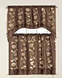 Elegant Kitchen Window Curtains Elegant Home Collection 3 Piece Brown Coffee Chocolate Gold Embroidered Kitchen Window Curtain Set with Floral Embroidery Tiers and Swag Valance Window Treatment Set - EHOlive(Brown)