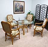 Barbados Rattan Dining Furniture 5 Piece Set (4-Arm Chairs, Table W/Glass Top) Fully Assembled