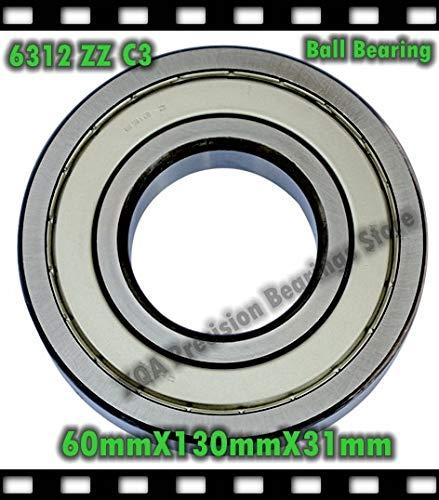 Ochoos 60mm Diameter Ball Bearings 6312 ZZ C3 Double Metal Closed 60mmX130mmX31mm CNC,Motors,Engines Factory Direct