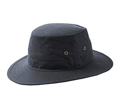 7263f046a5d Failsworth Hats Wax Cotton Traveller Hat - Outback Shape Navy Blue (55cm -  6 3