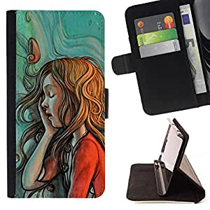 Momo Phone Case / Flip Funda de Cuero Case Cover - Monnaie Rouge Vert Redhead - Samsung Galaxy J3 GSM-J300