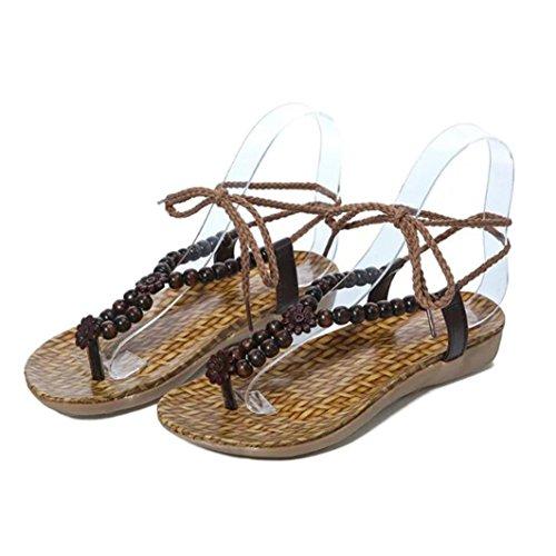 Sandalias de vestir, Ouneed ® Las señoras Bohemia ocio sandalias Peep-Toe zapatos de mujer marrón