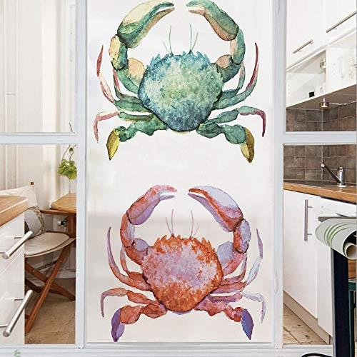 Decorative Window Film,No Glue Frosted Privacy Film,Stained Glass Door Film,Watercolor Style Effect Sea Animal Theme Pattern Illustration of Crabs Artwork Print,for Home & Office,23.6In. by 59In Orang
