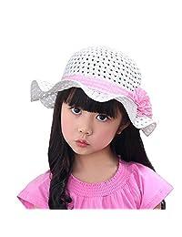 Straw Bucket Hat Mesh Girls Babies Children Women Pink Bowknot Summer Sun Hats