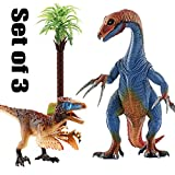 Kids Dinosaur Toys, BooTaa Dinosaur World, Large Realistic Looking Dino Action Figure Kit, Gift for 3 4 5 6 Years Old Boys Kids Toddlers, Birthday Party Game Favor,Therizinosaurus Utahraptor,Pack of 3