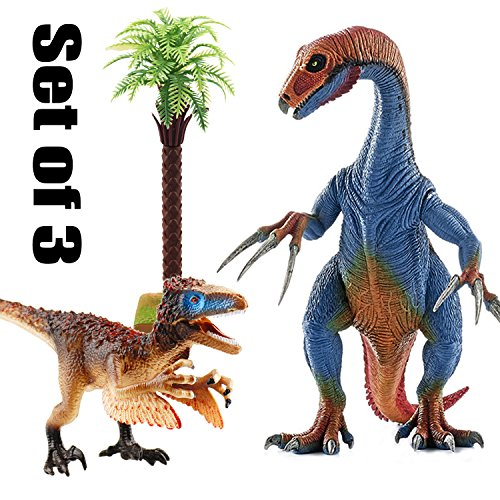 Kids Dinosaur Toys, BooTaa Dinosaur World, Large Realistic Looking Dino Action Figure Kit, Gift for 3 4 5 6 Years Old Boys Kids Toddlers, Birthday Party Game Favor,Therizinosaurus Utahraptor,Pack of 3 by BooTaa