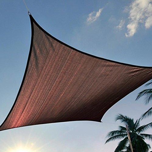 12 x 12' FT Feet Square UV Heavy Duty Sun Shade Sail Patio Cover Brown Canopy