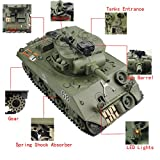 Fisca Remote Control Tank, 2.4Ghz 15CH 1/20 Sherman M4A3 Main Battle RC Tank That Shoot Airsoft for Kids Age 10 11 12 - 16 Year Old