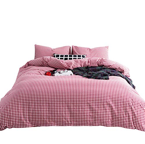 - SUSYBAO 3 Pieces Duvet Cover Set 100% Natural Washed Cotton King Size 1 Duvet Cover 2 Pillowcases Hotel Quality Super Soft Comfortable Breathable Durable Red Gingham Plaid Bedding with Zipper Ties