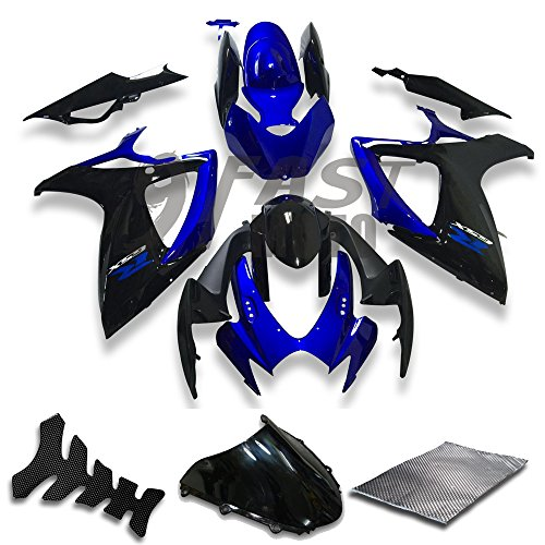 9FastMoto Fairings for suzuki 2006 2007 GSX-R600 GSX-R750 K6 06 07 GSXR 600 750 K6 Motorcycle Fairing Kit ABS Injection Set Sportbike Cowls Panels (Blue & Black) S1178
