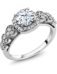 1.52 Ct Round Hearts And Arrows White Created Sapphire 925 Sterling Silver Ring (Available in size 5, 6, 7, 8, 9)