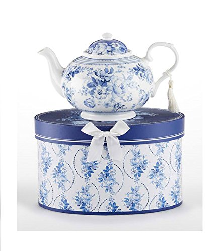 Delton Products English Blue 9.5 inches x 5.6 inches Porcelain Tea Pot in Gift Box - Teapot Delton