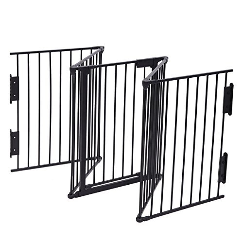 JAXPETY 25''x 30'' 5 Panel Baby Safety Fence Hearth Gate BBQ Fire Gate Fireplace Metal Plastic Pet Dog Cat by JAXPETY (Image #5)