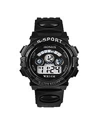 TOOPOOT® Waterproof Children Boy Digital LED Quartz Alarm Date Sports Wrist Watch (Black)