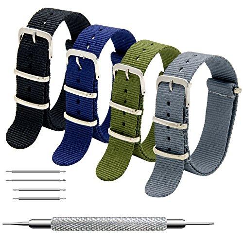 Nato Strap 4 Packs 16mm 18mm 20mm 22mm 24mm Ballistic Nylon Watch Bands...