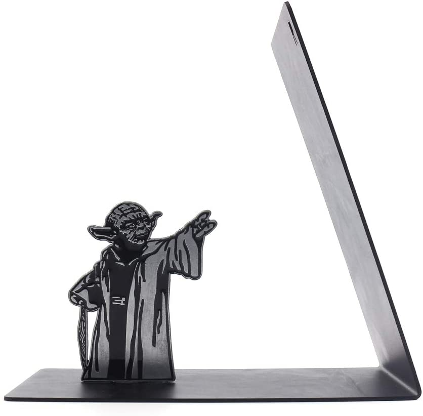 Premium Heavy-Duty Metal Bookend - Black L-Shaped Bookend Supports on Office Desk, Creative Gift for Dad and Lover (Master)