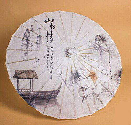 CITY Vintage Chinese Parasol Oil Paper Bamboo Umbrella - Shanshuiqing
